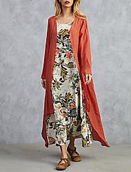 cheap -Women's Maxi Bodycon Dress - Long Sleeve Print Elegant Loose Orange Navy Blue M L XL XXL XXXL XXXXL XXXXXL
