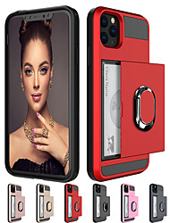 cheap -Armor Slide Card Ring Stand Holder Case For Apple iphone 11 Pro Max XR XS Max X SE2 8 Plus 7 Plus 6 Plus Shockproof Card Slot Holder PC Back Cover Soft TPU Frame Protection