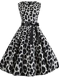 cheap -Women's Sheath Dress - Sleeveless Print Summer Casual 2020 Black Brown Gray S M L XL XXL