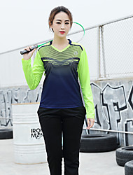 cheap -Women's Tennis Badminton Table Tennis Sweatshirt and Pants Clothing Suit Long Sleeve Quick Dry Breathable Soft Sports Outdoor Autumn / Fall Spring Yellow Green Dark Navy / High Elasticity