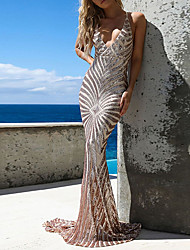 Недорогие -блестка русалка труба сексуальная искорка без рукавов v шеи развертки кисть поезд спандекс вечернее платье выпускного вечера