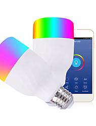 Недорогие -1шт 12 W Круглые LED лампы Умная LED лампа 700 lm B22 E26 / E27 30 Светодиодные бусины Контроль APP Smart синхронизация Multi-цветы 85-265 V