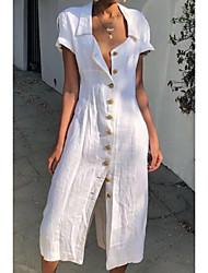 Недорогие -Жен. Рубашка Платье - Короткие рукава Сплошной цвет V-образный вырез Белый Синий Красный Желтый S M L XL XXL