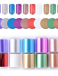 Недорогие -Смешанный цвет звездное фольги для ногтей голографические наклейки наклейки для ногтей передачи золото красный шампанское ногти бумага клей наклейки