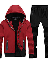 cheap -Men's 2-Piece Full Zip Cotton Tracksuit Sweatsuit Jogging Suit 2pcs Winter Hooded Running Fitness Jogging Thermal / Warm Breathable Soft Sportswear Athletic Clothing Set Long Sleeve Activewear
