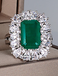 cheap -8 carat Synthetic Emerald Ring Copper For Women's Emerald cut Antique Luxury Bridal Wedding Party Evening Formal High Quality Pave