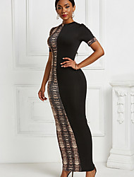 cheap -Women's Khaki Brown Dress Sheath Color Block S M