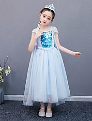 cheap -Princess Elsa Dress Flower Girl Dress Girls' Movie Cosplay A-Line Slip Vacation Dress Blue Dress Children's Day Masquerade Tulle Cotton