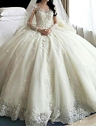 cheap -A-Line Wedding Dresses Scoop Neck Court Train Organza Long Sleeve Sexy Wedding Dress in Color with Appliques 2020