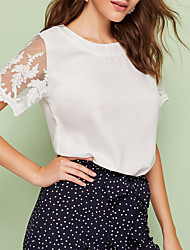 cheap -New 2020 Women's Round Neck Lace Solid Short Sleeve Blouse