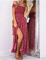 cheap -Women's Sheath Dress Maxi long Dress - Short Sleeves Geometric Off Shoulder Elegant Blue Red S M L XL XXL