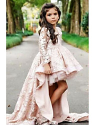 cheap -Ball Gown Asymmetrical Wedding Flower Girl Dresses - Polyester Long Sleeve V Neck with Tier / Solid