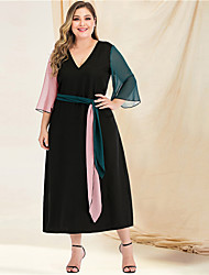 cheap -Women's Plus Size Maxi A Line Dress - Long Sleeve Color Block Solid Color Patchwork V Neck Casual Street chic Going out Beach Flare Cuff Sleeve Black L XL XXL XXXL XXXXL