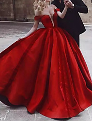 cheap -Ball Gown Wedding Dresses Off Shoulder Floor Length Polyester Cap Sleeve Country Plus Size Red with Draping 2021