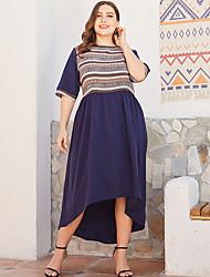 cheap -Women's Asymmetrical Sheath Dress - Half Sleeve Geometric Elegant Loose Navy Blue XL XXL XXXL XXXXL XXXXXL