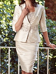 cheap -Sheath / Column Scalloped Neckline Knee Length Lace / Taffeta 3/4 Length Sleeve Elegant Mother of the Bride Dress with Appliques / Ruching 2020