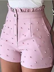 Недорогие -Жен. Классический Свободный силуэт Шорты Брюки - Однотонный Белый Черный Розовый S / M / L