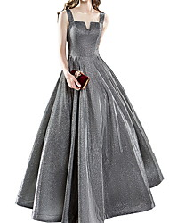 Недорогие -складки блесток онлайн минималистский блеск без рукавов совок шеи длиной до пола блестками вечернее платье выпускного платья