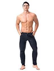 cheap -Dance Costumes Pants Back Pocket Metallic Buckle Beading Men's Performance Theme Party Natural PU