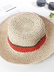 Недорогие -Жен. Для вечеринки Активный Классический Соломенная шляпа Солома,Контрастных цветов Однотонный Лето Осень Светло-коричневый Пыльная роза Хаки