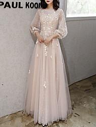 Недорогие -Аппликации A-Line Цветочные 3/4 слойка воздушный шар длина рукава жемчужина шеи Длина пола тюль вечернее платье выпускного вечера