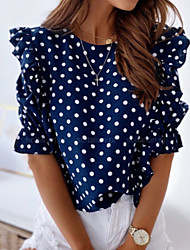 cheap -Women's Polka Dot Print Lace Trims Shirt Daily Blushing Pink / Royal Blue / Navy Blue / Light Blue