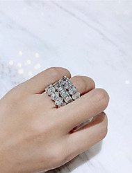 cheap -Synthetic Diamond Ring Silver For Women's Ladies Luxury Elegant Bridal Wedding Party Evening Formal High Quality Pave