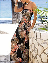 cheap -Women's Maxi Sheath Dress - Sleeveless Print Off Shoulder White Black Purple Orange Green Navy Blue Gray S M L XL