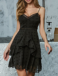 cheap -Womens Black Classic Lace Camisole Ruched Detail Layered Skater Wrap Dress MM0416