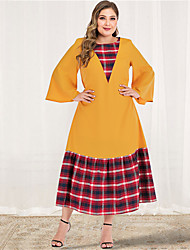 cheap -Women's Plus Size Maxi A Line Dress - Long Sleeve Color Block Plaid Solid Color Patchwork Spring & Summer Fall & Winter Casual Elegant Party Going out Flare Cuff Sleeve Belt Not Included Loose Yellow