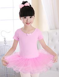 cheap -Kids' Dancewear Dresses / Leotards Girls' Training / Performance Spandex / Tulle Bow(s) Short Sleeve Leotard / Onesie