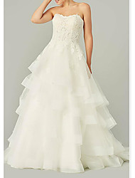 cheap -Ball Gown Wedding Dresses Strapless Sweep / Brush Train Tulle Polyester Sleeveless Country Plus Size with Ruffles Embroidery 2020