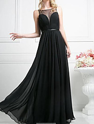 cheap -A-Line Illusion Neck Floor Length Chiffon Empire / Black Wedding Guest / Prom Dress with Sash / Ribbon / Pleats 2020
