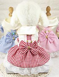 cheap -Dog Dress Dog Clothes Red Pink Blue Costume Husky Golden Retriever Dalmatian Cotton Polka Dot Plaid / Check Bowknot Stylish Vintage XS S M L XL XXL