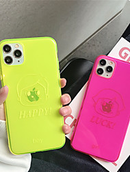 cheap -Case For Apple iPhone 11  11 Pro 11 Pro Max Fluorescent happy pattern TPU transparent material painting process scratch-resistant mobile phone case