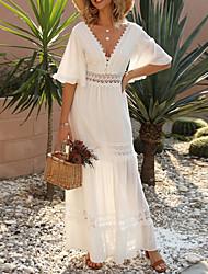 cheap -Women's Sheath Dress Maxi long Dress White Half Sleeve Solid Color V Neck Hot S M L XL XXL 3XL