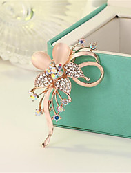 cheap -Women's Brooches Hollow Out Flower Fashion Imitation Diamond Brooch Jewelry Gold Blue Lilac For Gift Festival