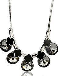cheap -Women's Gray Cubic Zirconia Long Necklace Classic Clover Simple Classic Fashion Chrome Silver 80 cm Necklace Jewelry 1pc For Gift Daily Festival