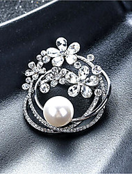 cheap -Women's Cubic Zirconia Brooches Classic Flower Shape Stylish Simple Classic Brooch Jewelry Gold Silver For Party Gift Daily Work Festival