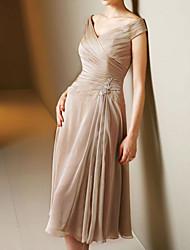 cheap -A-Line Mother of the Bride Dress Elegant V Neck Tea Length Chiffon Satin Short Sleeve with Pleats 2020
