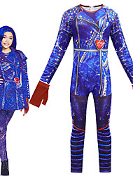 cheap -Descendants Cosplay Cosplay Costume Outfits Girls' Movie Cosplay Cosplay Halloween Blue Leotard / Onesie Gloves Carnival Masquerade Polyester