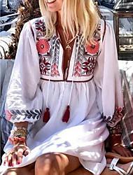 Недорогие -Жен. Свободный силуэт Платье - Рукав 3/4 Цветочный принт Вышивка Лето V-образный вырез Богемный Свободный силуэт 2020 Белый S M L XL XXL