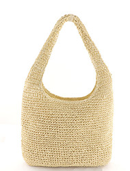 cheap -Women's Polyester / Straw Top Handle Bag Straw Bag Solid Color Brown / Beige / Fall & Winter