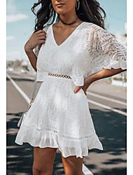 Недорогие -Жен. А-силуэт Платье - Рукав до локтя Сплошной цвет V-образный вырез Белый S M L XL