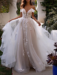 cheap -A-Line Wedding Dresses Off Shoulder Sweep / Brush Train Lace Tulle Sleeveless Country Plus Size with Lace Appliques 2020