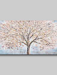 cheap -Oil Painting Hand Painted - Abstract Comtemporary Modern Stretched Canvas Trees Blue