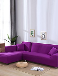 cheap -Nordic Simple Plain Color Elastic Sofa Cover Single Double Three Person Sofa Cover Violet