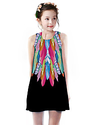cheap -Kids Girls' Basic Cute Flamingos Color Block Rainbow Bird Print Sleeveless Knee-length Dress White