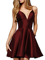 cheap -A-Line Reformation Amante Homecoming Cocktail Party Dress V Neck Spaghetti Strap Sleeveless Short / Mini Satin with Sleek 2020