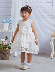 cheap -A-Line Tea Length First Communion Christening Gowns - Polyester Sleeveless Jewel Neck with Lace / Bow(s)